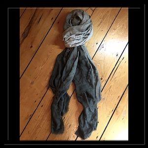 Anthropologie oversized olive ombré linen scarf